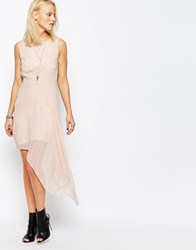 Religion Final Skater Dress With Asymmetric Hem Peach Whip Pink