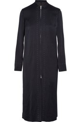 The Row Mose Satin Coat Navy