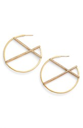 Dean Davidson Women's Continuous Hoop Earrings White Topaz Gold