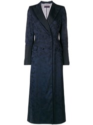 Talbot Runhof Camouflage Double Breasted Coat Blue