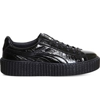 Puma Basket Creeper Patent Leather Trainers Black Cracked Fenty