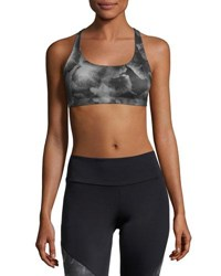 Onzie Chic Floral Print Low Impact Sports Bra Black Multipattern Gray Petunia