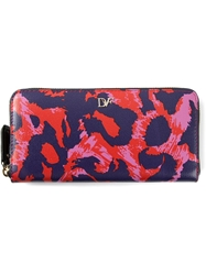 Diane Von Furstenberg Abstract Leopard Print Wallet Blue