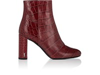 Saint Laurent Women's Loulou Stamped Leather Ankle Boots Burgundy