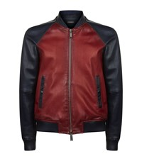 Dsquared2 Colour Blocked Leather Bomber Jacket Male