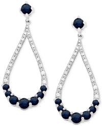 Macy's Sapphire 1 1 5 Ct. Tw. And Diamond 1 10 Ct. Tw. Crescent Drop Earrings In 14K White Gold