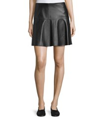 Vince Lamb Leather Pleated Skirt Black