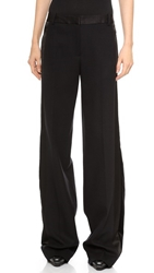 Jason Wu Wool Crepe Tuxedo Wide Leg Trousers Black