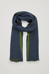 Cos Wool Scarf With Felted Edges Blue