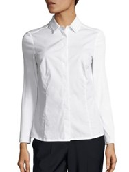 Peserico Battendown Bead Neck Blouse White