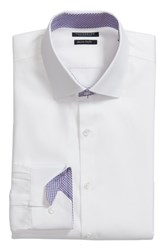 Tailorbyrd Big And Tall Becker Trim Fit Stripe Dress Shirt White