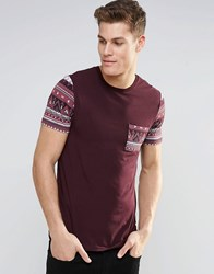 Asos Muscle T Shirt With Geo Tribal Pocket And Sleeve In Oxblood Oxblood