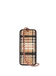 Burberry Checked Logo Print Cardholder Necklace Beige Multi