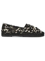Dolce And Gabbana Embellished Lace Espadrilles Black