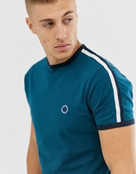 Pretty Green Small Logo Taped Sleeve T Shirt In Teal Blue