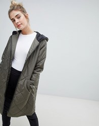 Jdy Tammy Longline Quilted Coat Grape Leaf Green