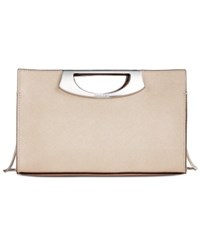 Calvin Klein Saffiano Leather Convertible Clutch With Metal Handle Metallic Taupe