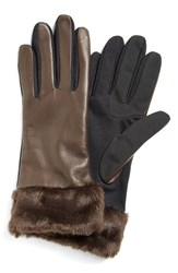 Women's Fownes Brothers Leather Tech Gloves With Faux Fur Trim Brown