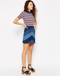 Asos Denim A Line Mini Skirt With Chevron Patchwork Blue