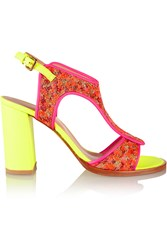Markus Lupfer Neon Leather And Brocade Sandals Pink