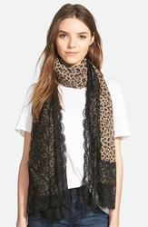 La Fiorentina Animal Print Scarf Brown