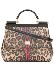 Dolce And Gabbana Leopard Sicily Top Handle Tote Brown