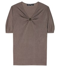 Salvatore Ferragamo Silk And Cotton T Shirt Brown