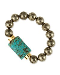 Turquoise And Pyrite Bead Stretch Bracelet Nest Jewelry
