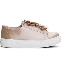 Office Fliss Embellished Satin Trainers Pink Satin