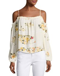 Romeo And Juliet Couture Floral Print Cold Shoulder Blouse Cream