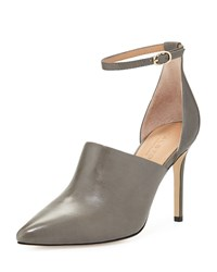 Halston Heritage Chloe Leather D'orsay Pump Gunmetal Grey Size 37.0B 7.0B