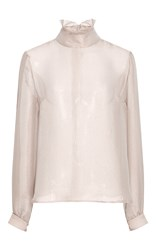 Anna Sammarone Ruffled Collar Blouse Silver