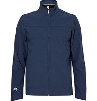 Tracksmith Nor'easter Water Repellent Bonded Stretch Shell Jacket Storm Blue