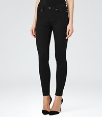 Reiss Stevie Womens Low Rise Skinny Jeans In Black