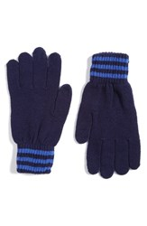Polo Ralph Lauren Men's Rugby Stripe Wool And Cashmere Gloves French Navy Maidstone Blue