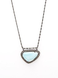 Adornia Larimar And Champagne Diamond Pendant Kaia Necklace Silver