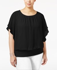 Jm Collection Plus Size Butterfly Sleeve Top Only At Macy's Deep Black