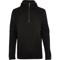 River Island Mens Black Zip Up Funnel Neck Hoodie