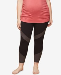 Motherhood Maternity Plus Size Colorblocked Leggings Black Grey