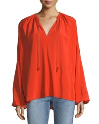 Elizabeth And James Chance Long Sleeve Silk Top With Rope Tie Detail Orange