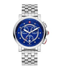 Michele 42Mm Sport Sail Chronograph Bracelet Watch W Diamonds Blue