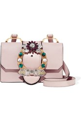 Miu Miu Embellished Textured Leather Shoulder Bag Blush