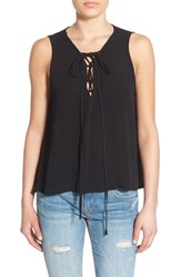 Women's Painted Threads Lace Up Tank Black