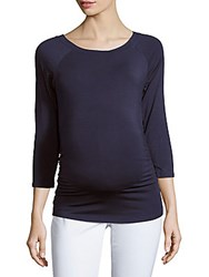 Rosie Pope Ruched Boatneck Maternity Blouse Navy