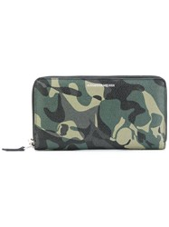Alexander Mcqueen Skull Camouflage Continental Wallet Men Calf Leather One Size Green