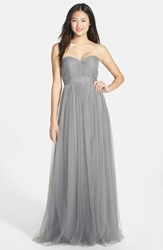 Jenny Yoo Plus Size Women's 'Annabelle' Convertible Tulle Column Dress Sterling Grey