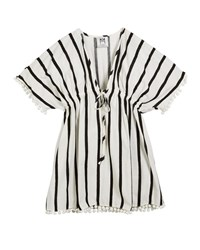 Milly Minis Stripe Embroidered V Neck Swim Coverup White Black