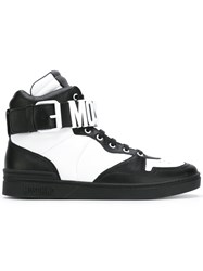 Moschino Ankle Strap Hi Top Sneakers Men Leather Metal Rubber 44 Black