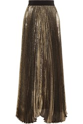 Alice Olivia Katz Plisse Silk Blend Lame Maxi Skirt Gold