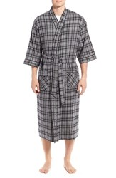 Majestic International Men's Flannel Cotton Robe Charcoal